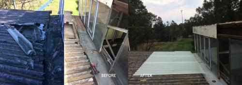 Vandalised gutter and roof, before, during and after repair and encapsulation
