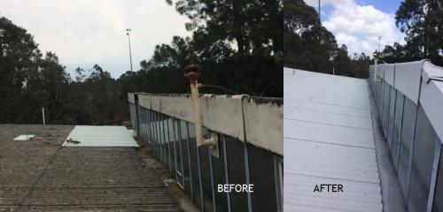 Vandalised gutter and roof bargeboard before and after