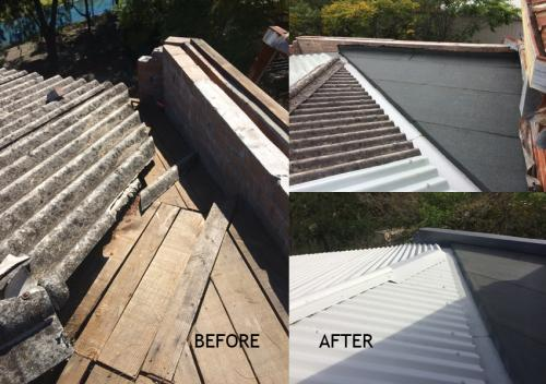 Vandalised gutter and flat roof before and after repair and encapsulation