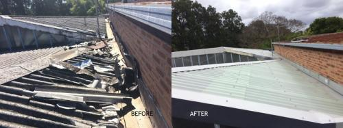 Vandalised roof before and after repair and encapsulation