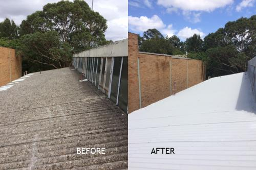 Vandalised skillion roof before and after repair and encapsulation